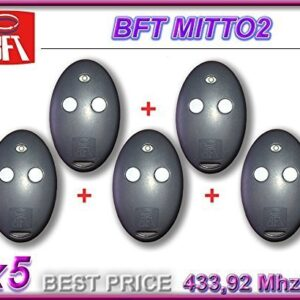 5-x-BFT-MITTO-2-Mando-a-distancia-2-canales-43392-MHz-Rolling-Code-0
